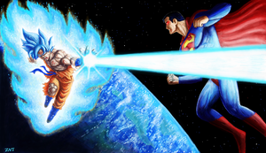 Super Saiyan Blue Goku vs Superman on AnonDraw by zachjacobs
