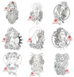 tattoo outlines 9 pcs pack part 3 free download by MWeiss-Art