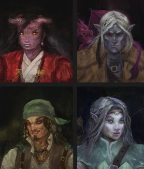 High Rollers DnD Portraits by PrimordialSeven