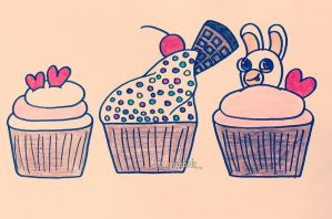 Cupcakes and Rabbids by raybbids