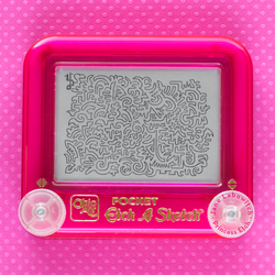 Pink pocket Etch A Sketch doodle by pikajane