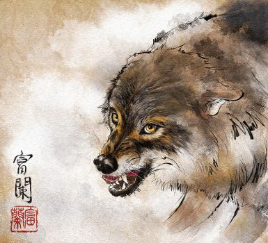 Japan tladitional paint Wolf in Digital by Tomoshibi127