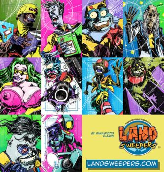 Land Sweepers sketch cards by weaselpa