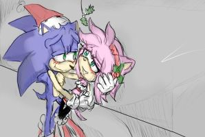 SonAmy Mistletoe .:Colored:. by little-x-flower