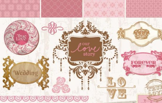 Loot # 5 Vintage wedding decorative frames by graphicloots