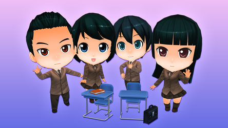 Anime Chibi - School Pack - Students by OnBeeBox