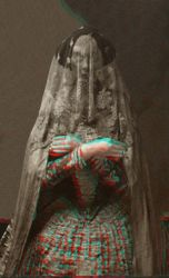 Woman with lace veil. by Darkedraveness