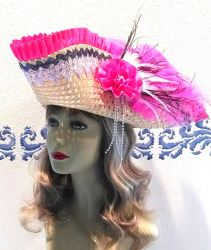 Pirate Hat with pink pleated ribbon and white lace by Valtira