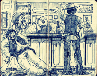 Cowboys at the Saloon by e1n