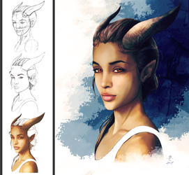 Tiefling Girl Stages by Elos