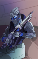 Garrus with a new rifle (COMMISSION) by squarerootofdestiny