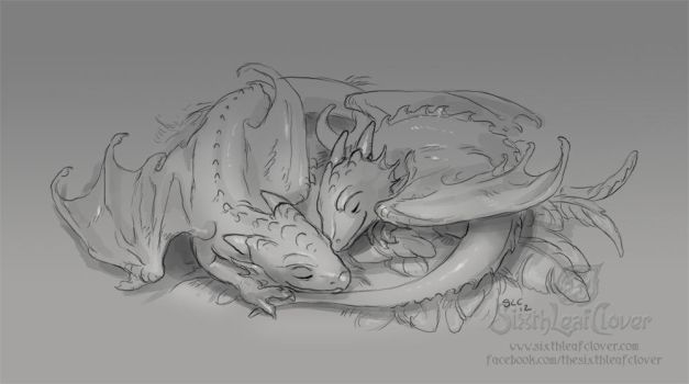 Sleeping Dragon Whelps by The-SixthLeafClover