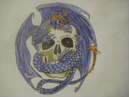 Dragon and Skull by MrsHarleenQuinnzel