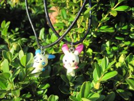 Plusle/Minun Necklace Set by MagicalMegumi