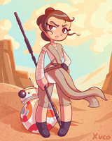 Rey and BB-8 by Xuco