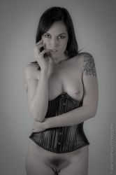 The Black Corset - Flirt BW by BrianMPhotography