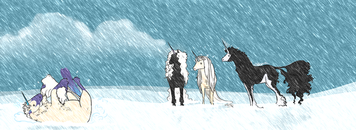 snow and puddles by Auraleyki