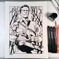 Inktober Day 10 - Ash vs. Evil Dead by D-MAC