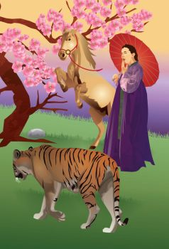 tiger and horse chinese zodiac by gurlgotkat2000