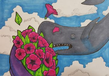 Inktober 12th: Whale by ProfessorBroomhead