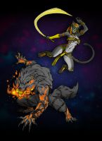 Bastet and Fenrir: Smite Fanart by RivanKrieg