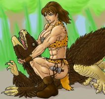 Katherine vs. 'raptor by tj-caris