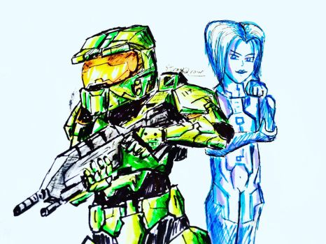 Cheif and Cortana by StrayQrow