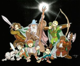 Lord of the Rings: CARTOON FELLOWSHIP by Jerome-K-Moore