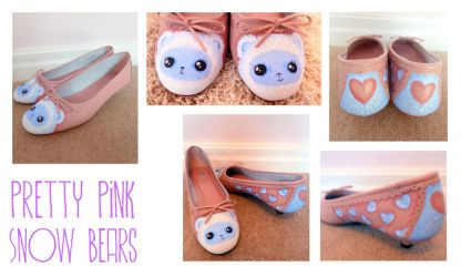 Pink Snow Bear Shoes by ponychops