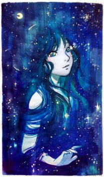 Stars born from her eyes by Qinni