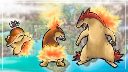 Shiny Cyndaquil Family by Patrick-Theater