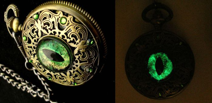 Dragon Pocket Watch - Regal - Forest Flame Detail by LadyPirotessa