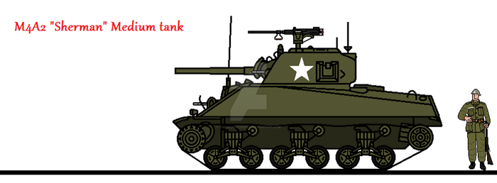 M4A2 Sherman Medium Tank by thesketchydude13