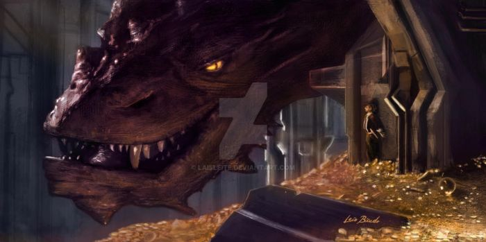 Smaug and Bilbo by LaisLeite