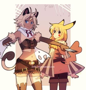 Meowth and Pikachu by DAV-19