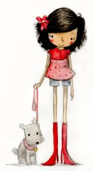 .she and her dog. by Pocket-Zoo
