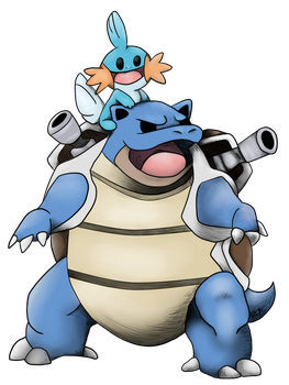 Blastoise and Mudkip: Tattoo Commission by TheAcrylicKnight