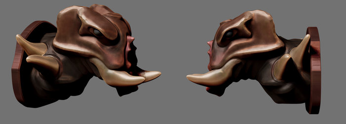 Daily Sculpt 1 - Mounted monster head by KritwanBlue