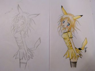 Pika Girl! (sketch+colored version) by CherryLady457