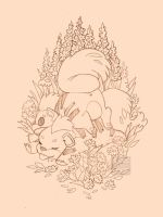 Fat Growlithe Fluffy Butts Lineart by blix-it