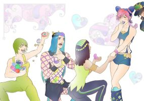 Jolyne and her admirers by Autumn-Sacura