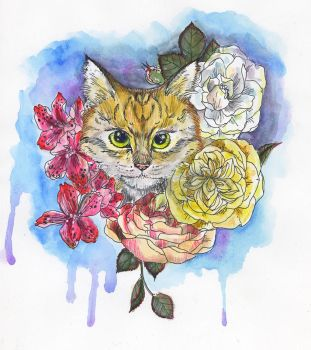 Cat and flora by angeldevilland