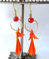 Houou Earrings Origami Phoenix by pandacub143