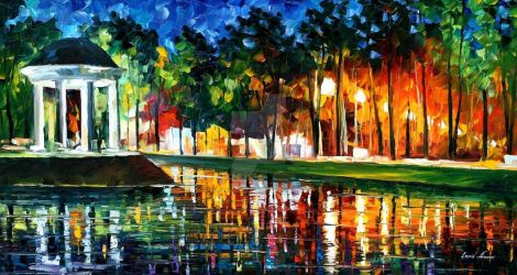 Gazebo By The Water by Leonid Afremov by Leonidafremov