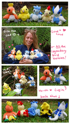 All the babies! Legendary Bird Pokemon plush set by scilk
