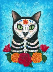 Day of the Dead Cat by tigerpixieart