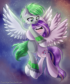 Commission - Space hugs by ChaosAngelDesu
