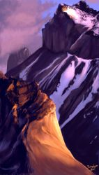 Painting practice, mountains by OFools