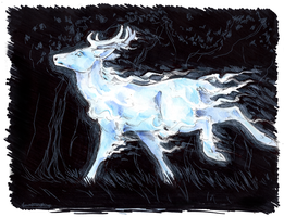 Inktober '16, Day 6, Expecto Patronum by ofcowardiceandkings