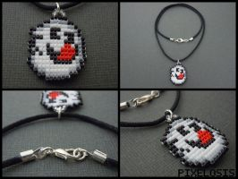 Handmade Seed Bead Crazy Boo 1 Necklace by Pixelosis